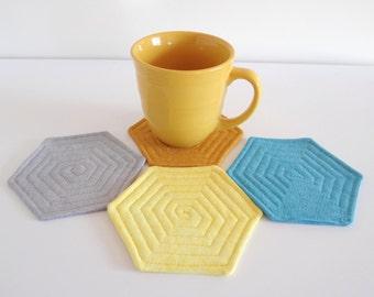 Fabric Coasters Hexagon Shape Set of 4