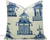 Pagoda Pillow Cover -  20 inch - decorative pillow cover - Chinoiserie Pillow - Ming Pagoda - Zephyr - Enchanted Home - blue and white