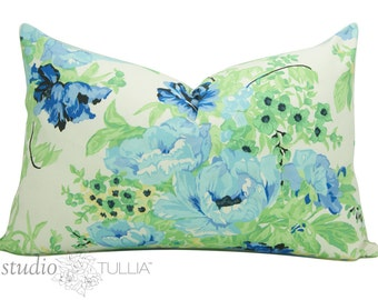 One Vintage Floral - 15 x 23 inch - Chintz - SALE - Rose - Rose Pillow - Blue and Green - Pillow Sham - ready to ship
