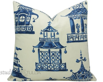 Decorative Pillow Cover - Chinoiserie - Pick Your Size - Ming Pagoda - Zephyr - Enchanted Home - blue and white - made to order