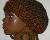 Clearance Ready to Ship Chunky Crochet Beret Tam with Drawstring and Earrings By Razonda Lee Razondalee