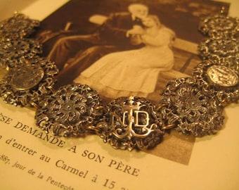 Antique Our Lady of Lourdes Silver Plated Catholic Medal Bracelet Art Nouveau