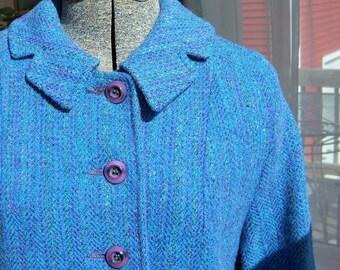 Vintage Harris Tweed 1950's Coat Blue Periwinkle Handwoven 100% Virgin Wool Herringbone Sporty Classic
