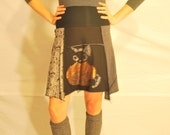 Recycled tee shirt skirt  small with rayon yoga style waistband  S0107