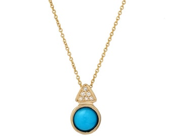 Turquoise Necklace, Turquoise Diamond Necklace, December Birthstone Necklace, Diamond Necklace, Turquoise Pendant, Turquoise, Gold, Nixin