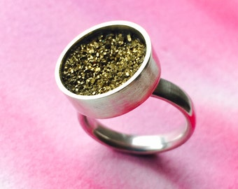 Faux Druzy silver statement ring