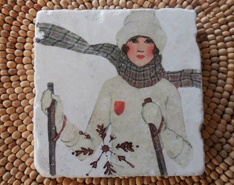 "Marble Stone Coaster - ""Lovely Ski Gal"" - Ski Decor - Ski Coaster - Rustic Decor - Ski - Coaster - Cabin Decor - Vintage Ski"