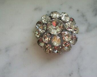 Dome Shaped Rhinestone Brooch Pin by Kramer