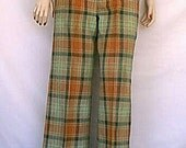 1970s Fall of the Year Pumpkin, Pistachio and Forest Green Plaid Bell Bottom Flared Trousers
