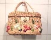 Straw Bag. Straw Purse.  Straw Handbag.  60s Straw Handbag.  Summer Straw Boho Purse.