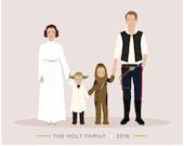 Custom Family Portrait Star Wars theme Star Wars gift