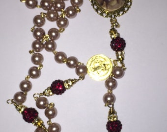 Champagne pearl with burgundy wired wrapped Our Father beads