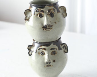 Vintage Laurel & Hardy Handmade Mugs - Vintage Pottery