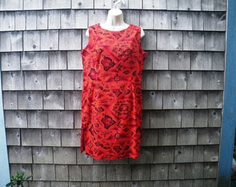 1960s Ui Maikai Red Sheath Dress Hawaiian Print