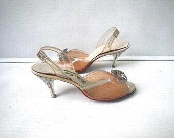 1950s Lucite Rhinestone Heels Clear Peep Toe Sandals Belle Mode
