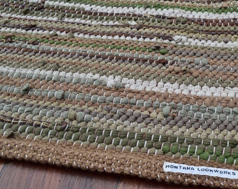 Handwoven Rug - 25x 49 woven from Recycled T Shirts: Green, Taupe, Brown.  Washable & Reversible