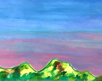 SALE large painting of mountains in spring, spring peaks, large colorful mountain painting, FREE shipping in U.S. only