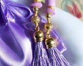 Breakfast at Tiffany's Style Lavender Gold Tassels Filigree Bead Sound Reduction Ear Plugs Set