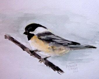 Cheerful Chickadee  Fine Art Print, Chickadee, Bird Art, Chickadee Art, Nursery Art, Kids Room Decor, Babys Room
