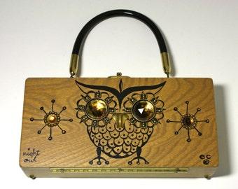 Vintage Enid Collins Night Owl Wooden Handbag - circa 1960's