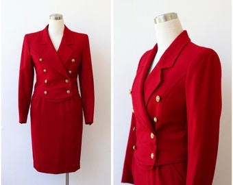 on SALE. Guy Laroche Red Skirt Suit, Designer Outfit XS, Red wool Skirt and Jacket