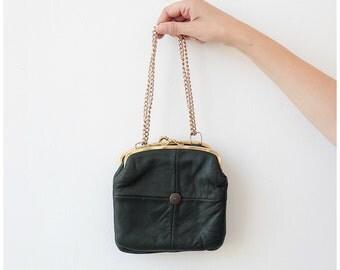 1960s vintage purse, leather evening purse w/ gold chain pouch clasp shoulder purse clutch purse