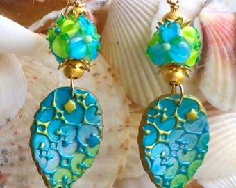 Aqua & Lime Floral Earrings