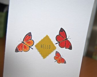 """Monarch Butterflies Folded  """"hello"""" Note Card Thank You Card Set Endangered Butterfly"""