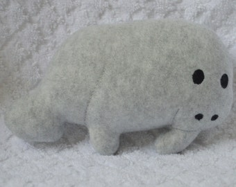 Handmade Stuffed Gray Fleece Manatee