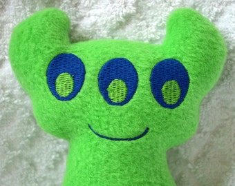 Handmade Stuffed Green Horned Monster - Fleece, Child Friendly machine washable softie plush