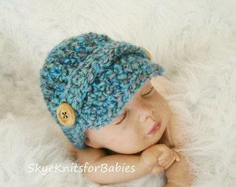 Newborn Newsboy Hat, Crochet Newsboy Cap, Baby Newsboy Cap, Any Color, Newborn, 0-3 Months, Baby Photography Prop