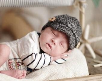 Crochet Baby Newsboy Cap, Newborn Newsboy Hat, Baby Boy Hat, Choose Any Color, Newborn Photography Prop