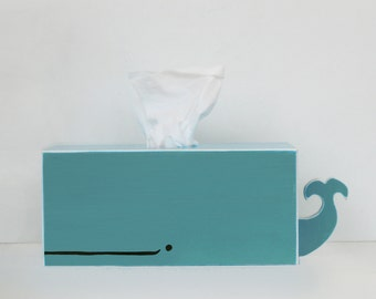 PRE-ORDER: Whale Tissue Holder - Cyan - Ships July 30th / nursery gift baby gift baby shower nautical pirate handmade woodworking