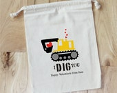I DIG YOU - Construction - Boy - Valentine - Personalized VALENTINE Favor Bags - Set of 10