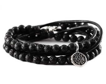 Mens Wrap Bracelet Black Leather Silver Bracelets Man Jewelry