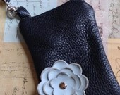 Black Leather Powder Blue Poppy Flower Cell Wristlet Crossbody Sling Small Purse Smart Phone Galaxy Iphone Droid Camera Gadget Case Zipper P