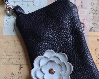 Black Leather Blue Poppy Flower Cell Wristlet Pouch Crossbody Sling Small Purse Smart Phone Galaxy Iphone Droid Camera Gadget Case Zipper P