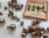 Vintage Jingle Bells, Christmas Holiday Bells, Lot of 50 small assorted bells