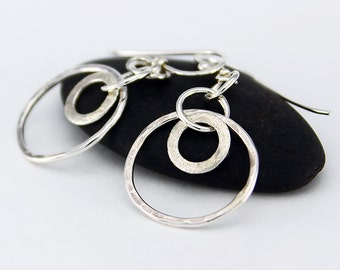 Handcrafted Sterling Silver Earrings Hammered Dangle/Drop Double Hoops Minimalist Contemporary Artisan Jewelry Design 0665415091614