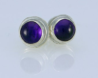 Handcrafted Sterling Silver and Amethyst Small Stud Earrings Simple Elegant Timeless Design Natural Stone February Birthstone 53818506102015