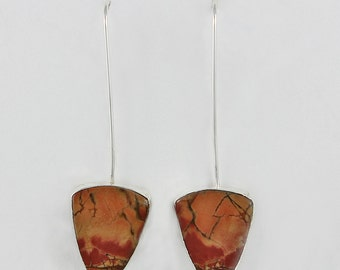 Handcrafted Sterling Silver and Red Creek Jasper Drop Earrings Natural Stone Abstract Handcrafted Artisan Design Contemporary 7413492761215