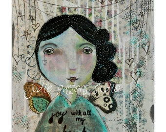 Angel Art Print, Angel mixed media and collage, angel wings, vintage, art canvas, joy with all my heart angel- by Judie Parsons