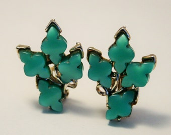 Vintage green thermoset earrings.  Clip on earrings