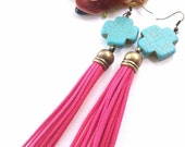 Deep pink leather tassel earrings- bohemian earrings- turquoise- boho gypsy dangle earrings