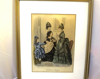 Antique Victorian French Fashion Plate Engraving Print Paris Fashions Hoop Skirts Gilt Wood Frame 1874 Le Monde Elegant Hand Colored Print