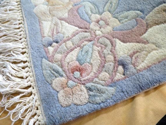 Vintage Chinese Wool Runner Rug 2 X 6 Ft Blue Pastel Colors