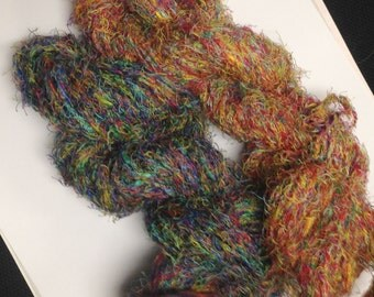 Classic Elite Yarn Galaxy, Bulky Textured Novelty Yarn in Cotton and Nylon, Choose Green/Blue or Red/Yellow Blend