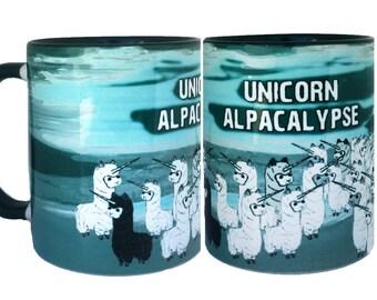 Unicorn Alpacalypse Funny Alpaca Green Mug