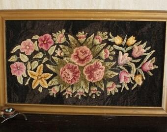 Vintage Floral Hooked Rug in a Gold Frame