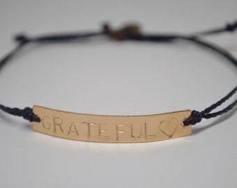 Grateful Heart Bracelet, Mantra bracelet, Intention Bracelet, Yoga Bracelet, Reminder Bracelet, Resolution Bracelet, Grateful Heart